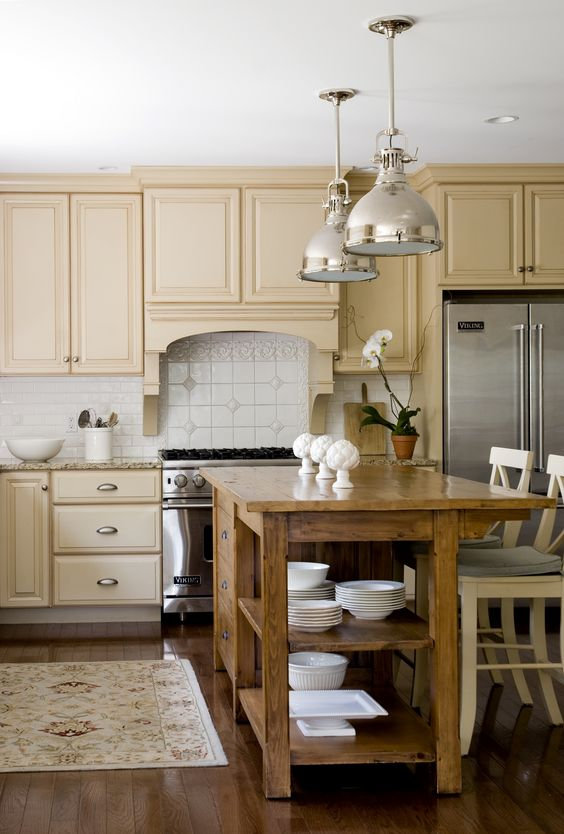 Yellow beige kitchen